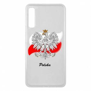 Etui na Samsung A7 2018 Herb Polski na tle flagi