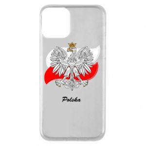Etui na iPhone 11 Herb Polski na tle flagi