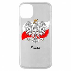 Etui na iPhone 11 Pro Herb Polski na tle flagi