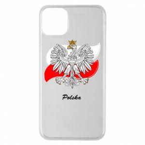Etui na iPhone 11 Pro Max Herb Polski na tle flagi