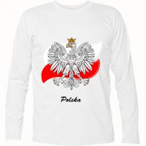 Long Sleeve T-shirt Poland Fighting against the background of the flag