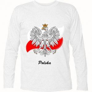 Koszulka z długim rękawem Herb Polski na tle flagi