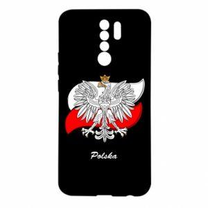 Etui na Xiaomi Redmi 9 Herb Polski na tle flagi