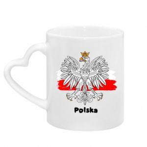 Kubek z uchwytem w kształcie serca Herb Polski