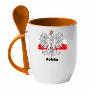 Mug with ceramic spoon Polish emblem