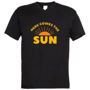 Męska koszulka V-neck Here comes the sun