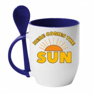 Kubek z ceramiczną łyżeczką Here comes the sun