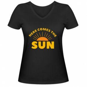 Damska koszulka V-neck Here comes the sun