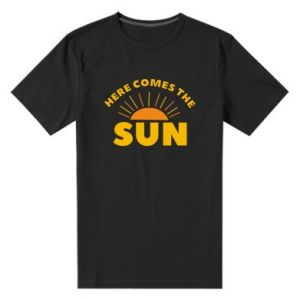 Męska premium koszulka Here comes the sun