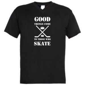 Men's V-neck t-shirt Good skate