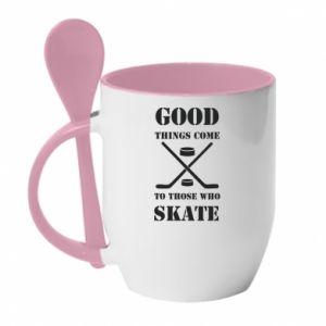 Kubek z ceramiczną łyżeczką Good skate - PrintSalon
