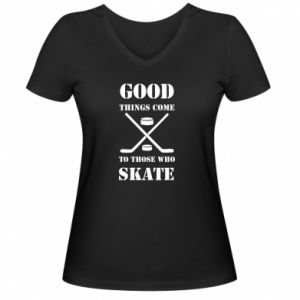 Damska koszulka V-neck Good skate - PrintSalon