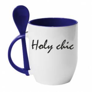 Kubek z ceramiczną łyżeczką Holy chic