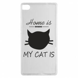 Etui na Huawei P8 Home is where my cat