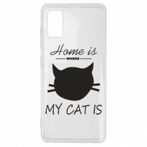 Etui na Samsung A41 Home is where my cat
