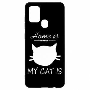Etui na Samsung A21s Home is where my cat