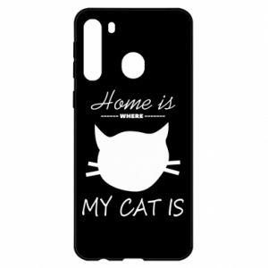 Etui na Samsung A21 Home is where my cat