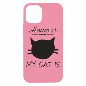 Etui na iPhone 12 Mini Home is where my cat