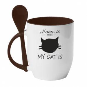 Kubek z ceramiczną łyżeczką Home is where my cat