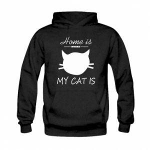 Bluza z kapturem dziecięca Home is where my cat