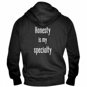 Męska bluza z kapturem na zamek Honesty is my specialty