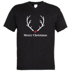 Men's V-neck t-shirt Horn, Merry Christmas