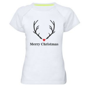 Women's sports t-shirt Horn, Merry Christmas