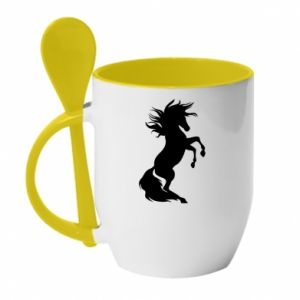 Kubek z ceramiczną łyżeczką Horse on hind legs - PrintSalon