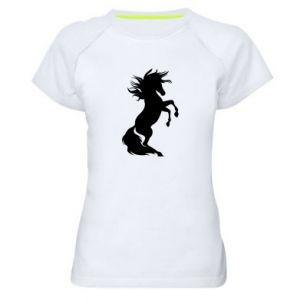 Damska koszulka sportowa Horse on hind legs - PrintSalon