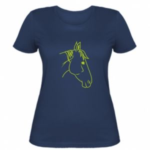 Women's t-shirt Horse portrait lines profile