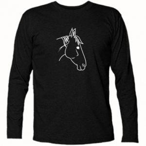 Koszulka z długim rękawem Horse portrait lines profile - PrintSalon