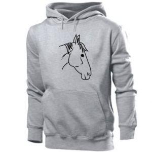 Męska bluza z kapturem Horse portrait lines profile