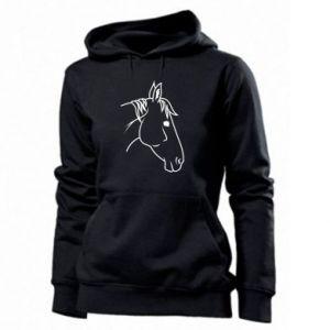 Women's hoodies Horse portrait lines profile
