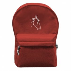 Backpack with front pocket Horse portrait lines profile