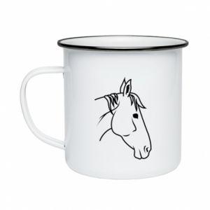 Enameled mug Horse portrait lines profile