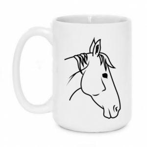 Kubek 450ml Horse portrait lines profile - PrintSalon