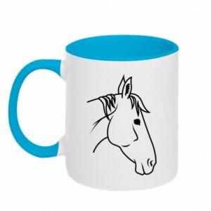 Kubek dwukolorowy Horse portrait lines profile - PrintSalon