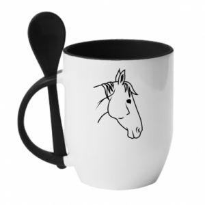 Kubek z ceramiczną łyżeczką Horse portrait lines profile - PrintSalon