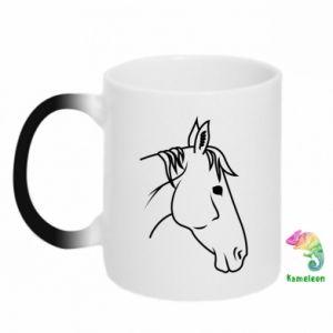 Kubek-magiczny Horse portrait lines profile
