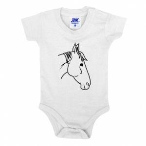 Baby bodysuit Horse portrait lines profile