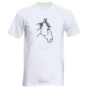 Men's sports t-shirt Horse portrait lines profile