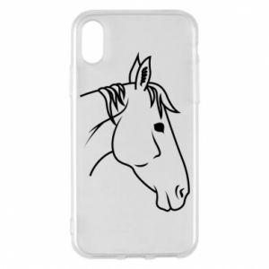 Phone case for iPhone X/Xs Horse portrait lines profile