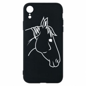 Phone case for iPhone XR Horse portrait lines profile