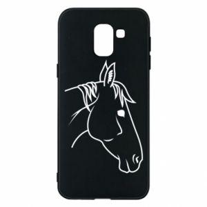 Phone case for Samsung J6 Horse portrait lines profile