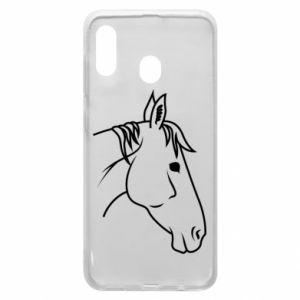 Phone case for Samsung A20 Horse portrait lines profile