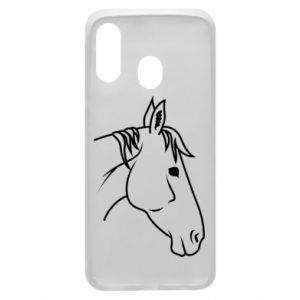 Phone case for Samsung A40 Horse portrait lines profile