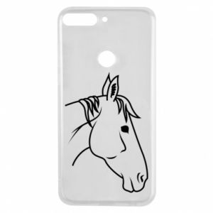 Phone case for Huawei Y7 Prime 2018 Horse portrait lines profile
