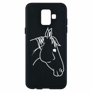 Phone case for Samsung A6 2018 Horse portrait lines profile