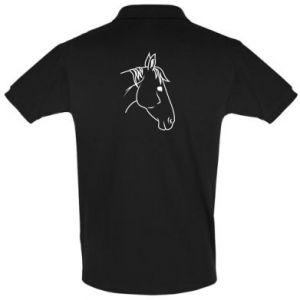 Men's Polo shirt Horse portrait lines profile