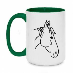 Two-toned mug 450ml Horse portrait lines profile